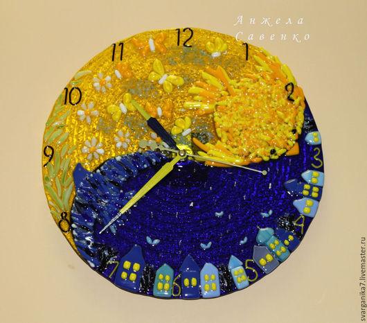 """Часы для дома ручной работы. Ярмарка Мастеров - ручная работа. Купить Часы в детскую """"День-Ночь"""" из стекла. Handmade. Желтый"""