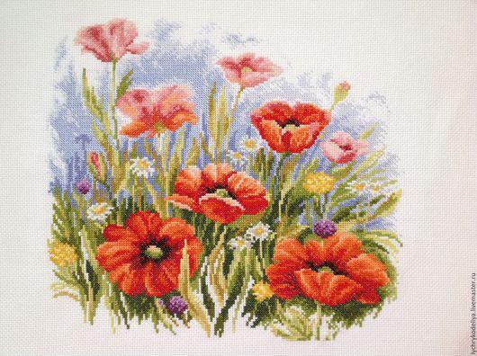 Картины цветов ручной работы. Ярмарка Мастеров - ручная работа. Купить Маки. Handmade. Вышивка крестом, цветы, полевые цветы