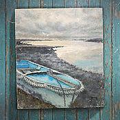 Картины и панно ручной работы. Ярмарка Мастеров - ручная работа картина Раннее утро на берегу реки... (голубой, серый, лофт). Handmade.