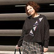 Одежда handmade. Livemaster - original item Oversized jumper with embroidery Pieces of the sky coat. Handmade.