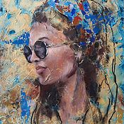 Картины и панно handmade. Livemaster - original item Oil painting summer Girl (yellow blue portrait). Handmade.