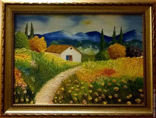 Пейзаж ручной работы. Ярмарка Мастеров - ручная работа. Купить Французский пейзаж. Handmade. Комбинированный, пейзаж, холст на картоне