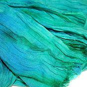 Аксессуары handmade. Livemaster - original item Boho linen scarf long hand dyeing batik. Handmade.