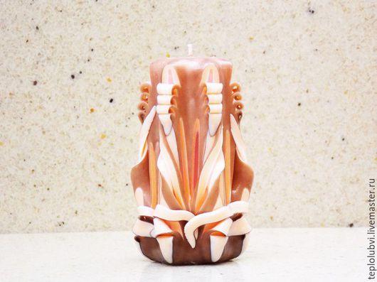 Свечи ручной работы. Ярмарка Мастеров - ручная работа. Купить Резная свеча ручной работы - персиковый и коричневый - резные свечи. Handmade.