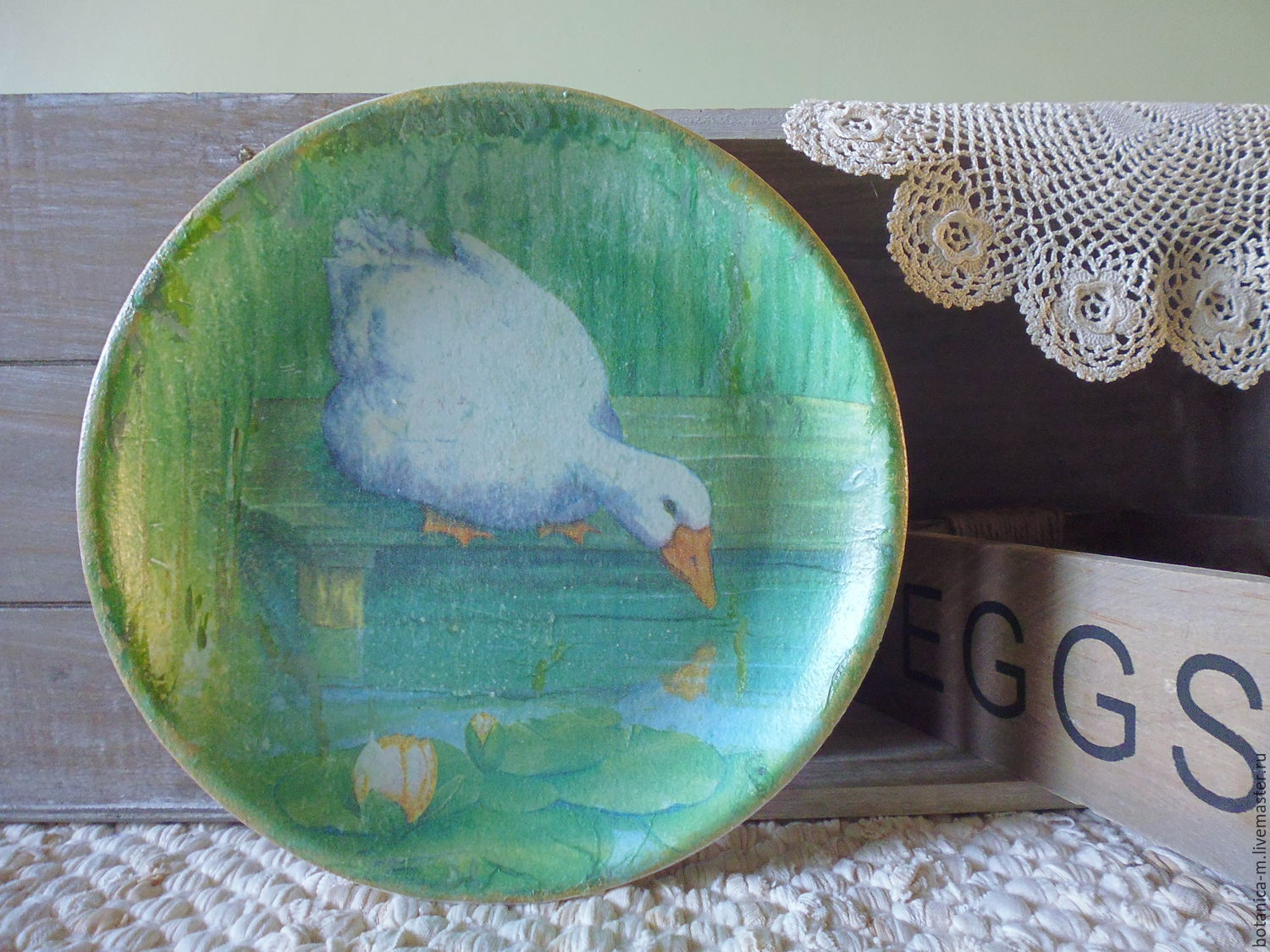 'Gus Martin' Plate decorative, vintage, country, green, Children\'s tableware, St. Petersburg,  Фото №1
