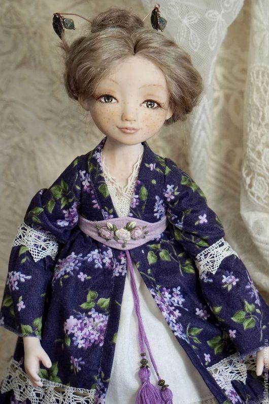 Коллекционные куклы ручной работы. Ярмарка Мастеров - ручная работа. Купить Аника. Handmade. Тёмно-фиолетовый, сиреневые цветы