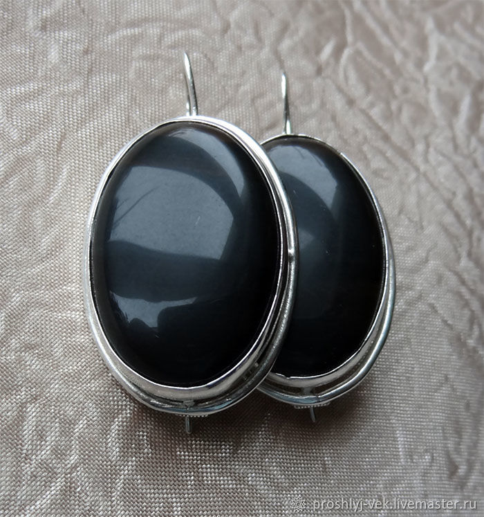 Black agate: earrings and ring, Vintage jewelry sets, Moscow,  Фото №1