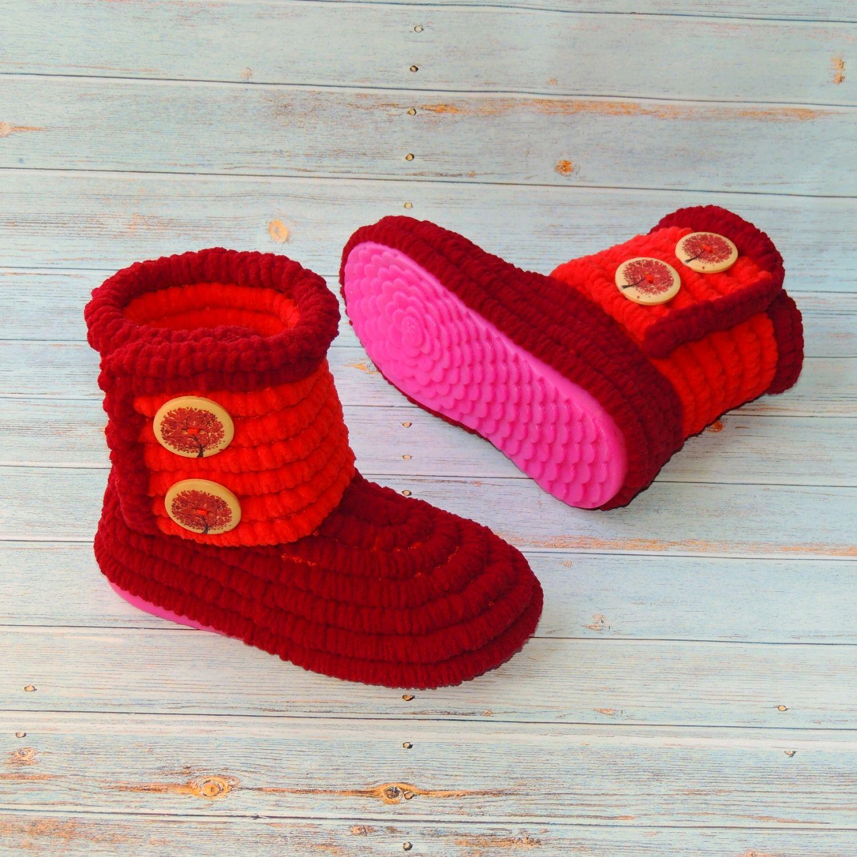 2f2a0b321 Детская обувь ручной работы. Ярмарка Мастеров - ручная работа. Купить Сапожки  вязаные плюшевые для ...