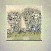 Картины и панно handmade. Livemaster - original item Painting on canvas 60h60 cm Morning forest (olive lilac beige). Handmade.