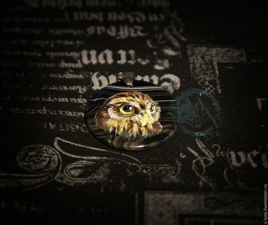 """Кулоны, подвески ручной работы. Ярмарка Мастеров - ручная работа. Купить подвеска """"сова"""". Handmade. Черный, сова, роспись"""
