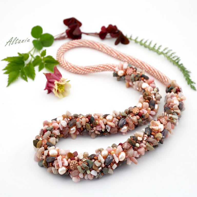 Long necklace for lovers of big forms. Decoration in peach and brown colors. Massive long necklace from Japanese and Czech beads, stone chips, pearls and Czech beads.
