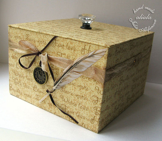 Подарочная упаковка ручной работы. Ярмарка Мастеров - ручная работа. Купить Шкатулка. Handmade. Шкатулка, бежевый, картонаж, ткань