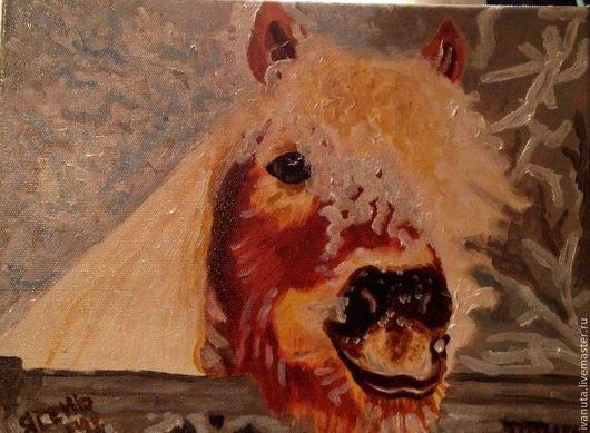 """Животные ручной работы. Ярмарка Мастеров - ручная работа. Купить Картина маслом """"Пони Бублик"""". Handmade. Голубой, пони, лошадка"""