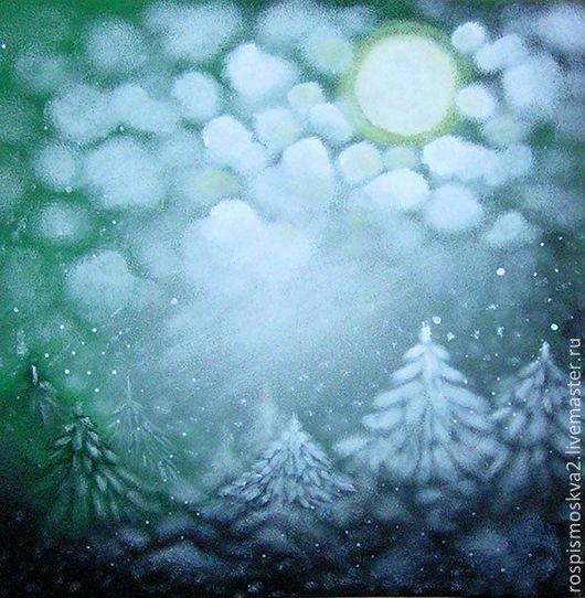 Пейзаж ручной работы. Ярмарка Мастеров - ручная работа. Купить Картина  Елочки  в  тумане  пейзаж  акрил  лес  деревья. Handmade.