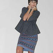 """Одежда ручной работы. Ярмарка Мастеров - ручная работа вязаная юбка """"Импровизация"""" (юбка женская,юбка теплая,жаккардовая юбка. Handmade."""