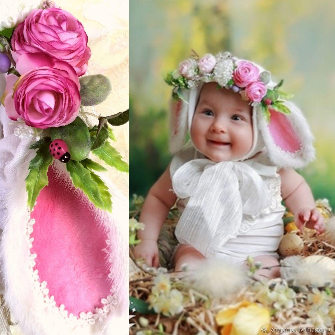 Шапочка для фотосессии с розовыми ушками пасхальная, Аксессуары для фотосессии, Черноголовка,  Фото №1