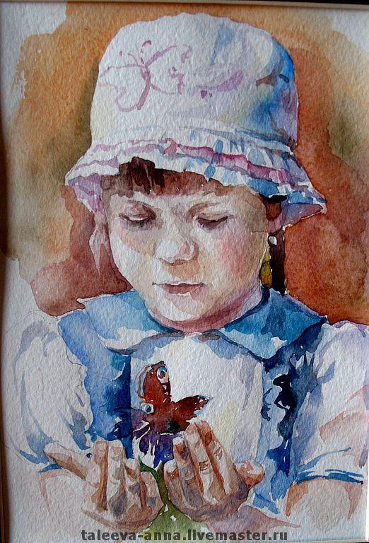 """Люди, ручной работы. Ярмарка Мастеров - ручная работа. Купить Акварель """"Забава"""". Handmade. Акварель, этюд, детский портрет, зарисовка"""