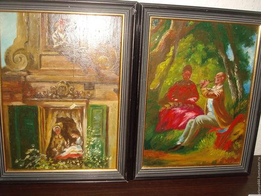 Винтажные предметы интерьера. Ярмарка Мастеров - ручная работа. Купить дамские угодники картины масло Германия. Handmade. Разноцветный, дерево