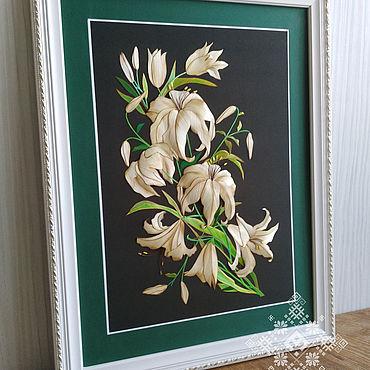 Картины и панно ручной работы. Ярмарка Мастеров - ручная работа Панно из соломки Лилии для Лилии. Handmade.