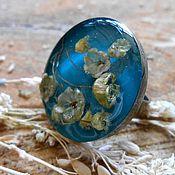 """Украшения ручной работы. Ярмарка Мастеров - ручная работа Винтажное кольцо с цветами """"Голубое небо"""". Handmade."""