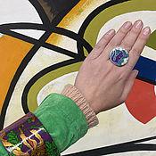 Украшения handmade. Livemaster - original item Kandinsky`s Cat. Author`s ring with enamel and minerals.. Handmade.