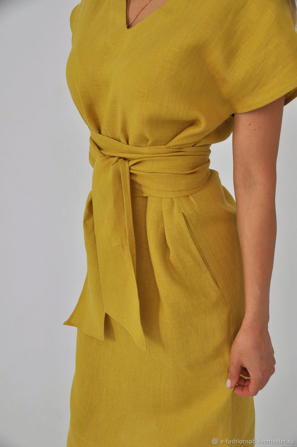 Linen dress with a mustard-colored belt, Dresses, St. Petersburg,  Фото №1