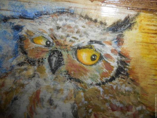 """Этно ручной работы. Ярмарка Мастеров - ручная работа. Купить картина панно """"Сова в ночи"""". Handmade. Коричневый, сова"""