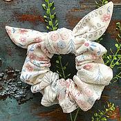 Украшения handmade. Livemaster - original item Fabric volume elastic band for white hair with a print. Handmade.