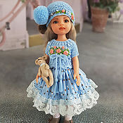 Куклы и игрушки handmade. Livemaster - original item Clothes for Paola Reina dolls. Summer blue set with bear.. Handmade.