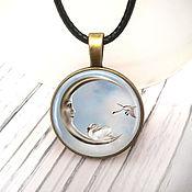 Украшения handmade. Livemaster - original item Moon pendant and swans 25 mm, art.0712. Handmade.