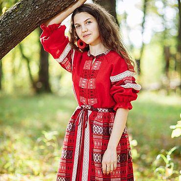 Русский стиль ручной работы. Ярмарка Мастеров - ручная работа Красное платье с понёвой. Handmade.