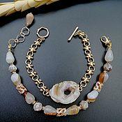 Украшения handmade. Livemaster - original item Bracelet set: with agate geode and chain