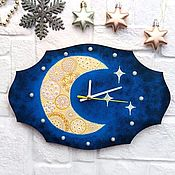 Для дома и интерьера handmade. Livemaster - original item Wall clock in the bedroom or children`s room Moon and stars. Handmade.