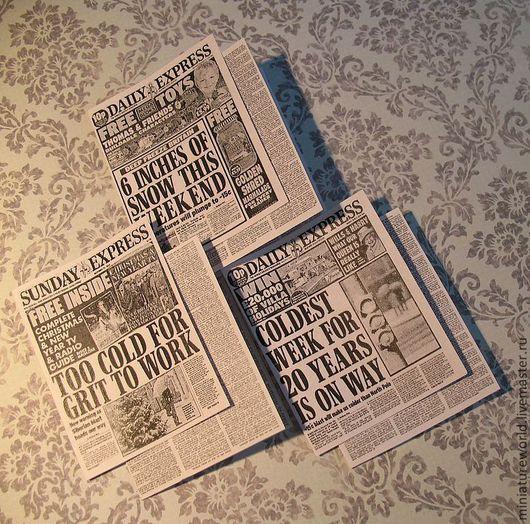 """Кукольный дом ручной работы. Ярмарка Мастеров - ручная работа. Купить Комплект """"зимних"""" газет 1:12. Handmade. Чёрно-белый"""