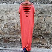 Одежда ручной работы. Ярмарка Мастеров - ручная работа Коралловое пляжное летнее макси платье с открытой спиной, кафтан абайя. Handmade.