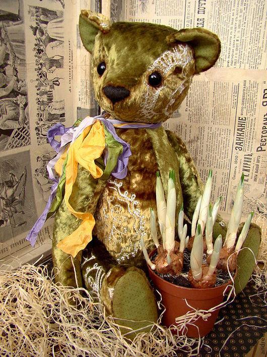 """Мишки Тедди ручной работы. Ярмарка Мастеров - ручная работа. Купить Медведь """"Крокус"""". Уехал в Австралию))). Handmade. Зеленый"""
