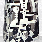 Посуда handmade. Livemaster - original item Bottle Chess frosted, stained glass painting. Handmade.