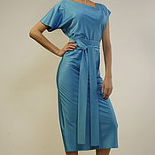 Одежда handmade. Livemaster - original item Dress evening cocktail long blue satin designer. Handmade.