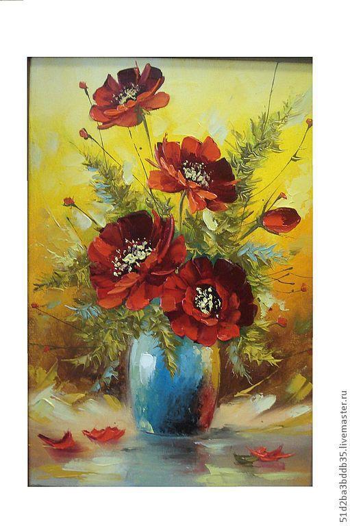 Картины цветов ручной работы. Ярмарка Мастеров - ручная работа. Купить маки в вазе. Handmade. Ярко-красный, картина