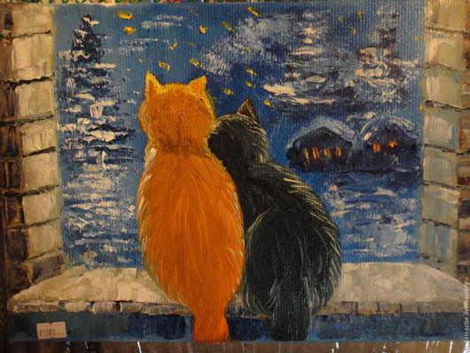 Животные ручной работы. Ярмарка Мастеров - ручная работа. Купить Новый Год вместе. Handmade. Синий, коты, звезды