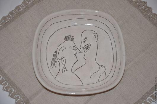 """Тарелки ручной работы. Ярмарка Мастеров - ручная работа. Купить Тарелка """"Вот такая любовь"""". Handmade. Чёрно-белый, радость"""