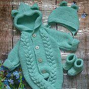 Работы для детей, handmade. Livemaster - original item Knitted set for newborn