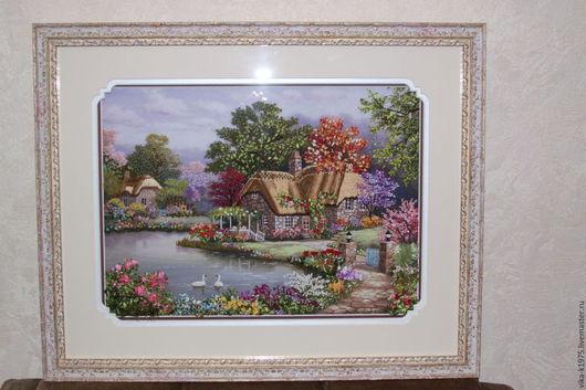 """Картины цветов ручной работы. Ярмарка Мастеров - ручная работа. Купить Картина вышитая лентами """"Лебединый домик"""". Handmade."""