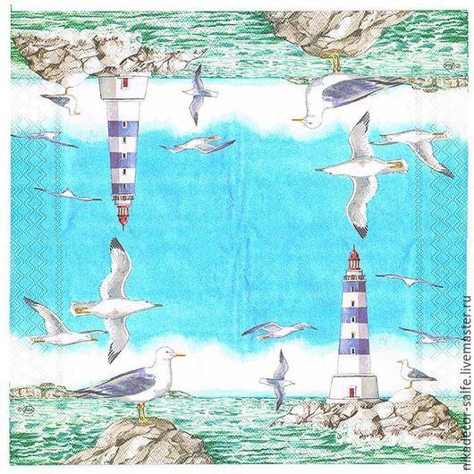 Декупаж и роспись ручной работы. Ярмарка Мастеров - ручная работа. Купить Морской маяк (13303320) 33х33 салфетка для декупажа. Handmade.