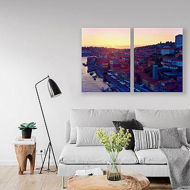 Картины и панно ручной работы. Ярмарка Мастеров - ручная работа Картина на холсте Закат над городком. Handmade.