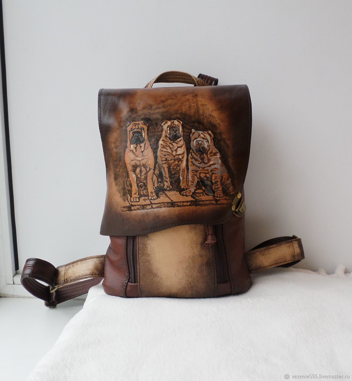 Leather backpack with engraving and painting to order Svetlana, Backpacks, Noginsk,  Фото №1