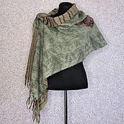 Аксессуары handmade. Livemaster - original item Felted Scarf Stole Shawl Olive Beige Green Merino Wool. Handmade.