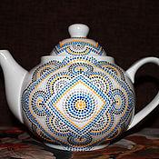 """Посуда ручной работы. Ярмарка Мастеров - ручная работа """"Геометрика"""" Чайник заварочный фарфоровый1,2 л. Handmade."""