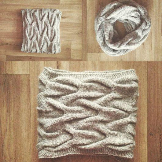 Шарфы и шарфики ручной работы. Ярмарка Мастеров - ручная работа. Купить Уютный снуд. Handmade. Серый, косы, снуд с косами