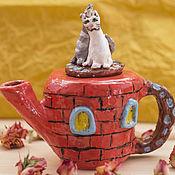 """Посуда ручной работы. Ярмарка Мастеров - ручная работа Керамический чайник """"Двое на крыше"""". Handmade."""